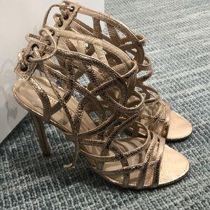 Topshop rose gold sandal heels. Size 41